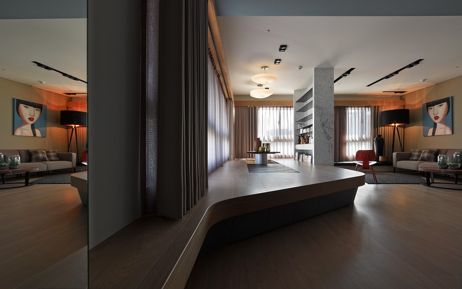 Unconventional Apartment In Taiwan With Striking Custom Made Furniture Elements