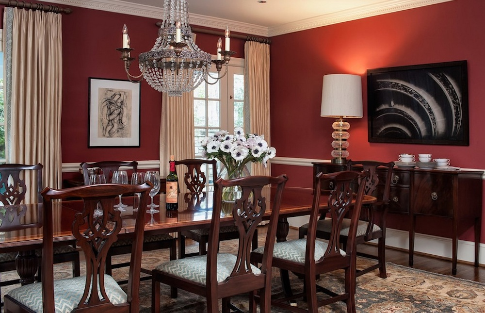 Bring red into your dining spaces to get people talking. Image Via: M.S. Vicas Interiors