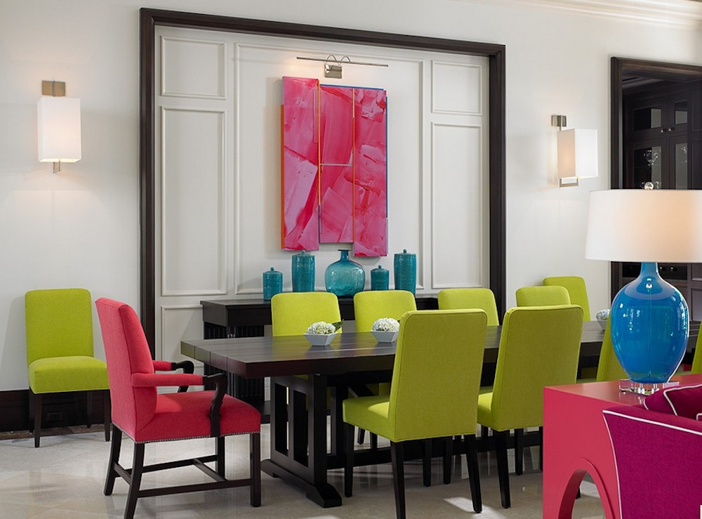 Balancing warm and cool colors is essential in a rectangular color scheme. Image Via: John David Edison Interior Design