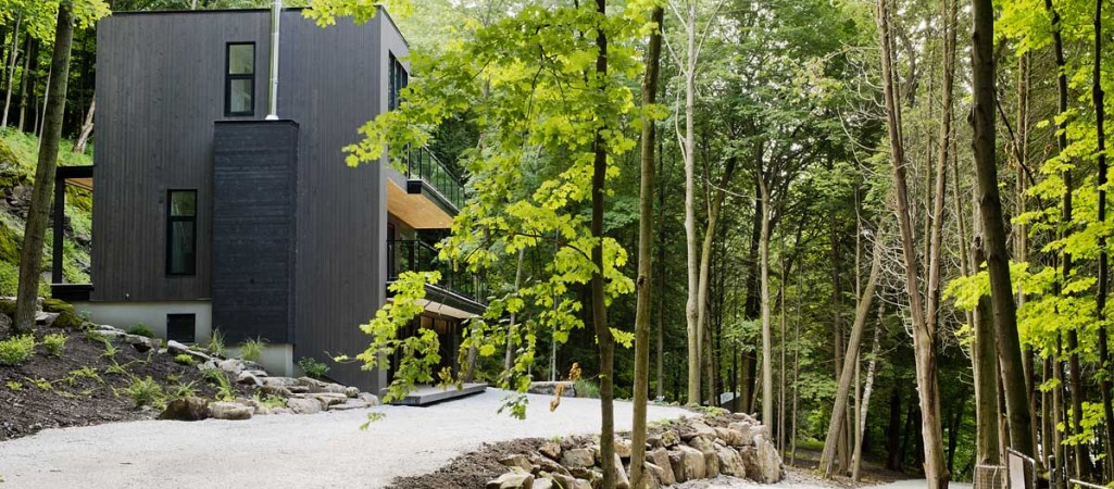 Dreamy LakesideModern Chaletin Quebec's Forested Landscape