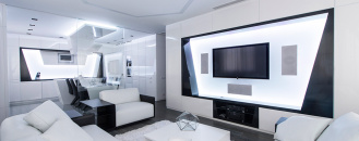 Futuristic Axioma Apartment in Black and White by Geometrix Design