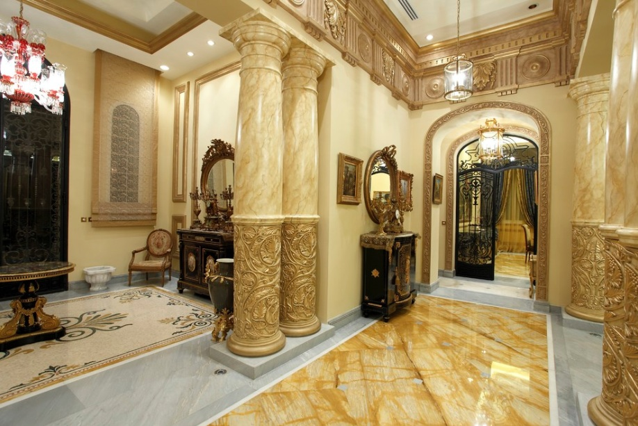 gold and marble columns