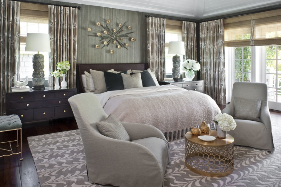 grey bedroom gold table