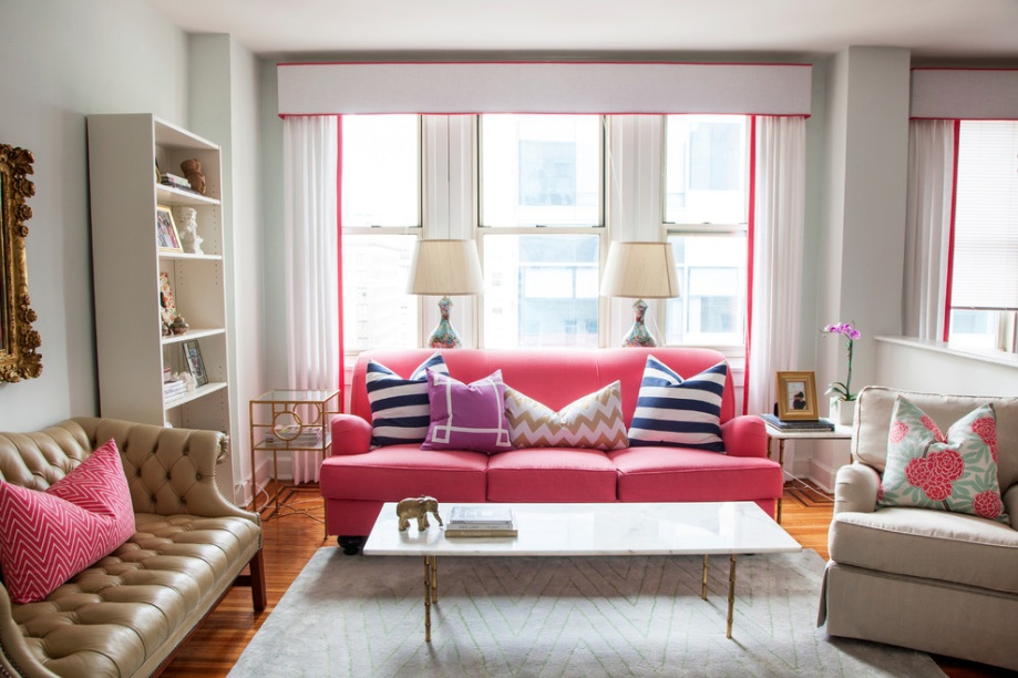 Living Room Pink Couch