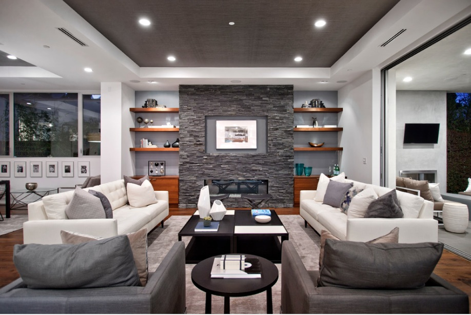 modern living room stone fireplace
