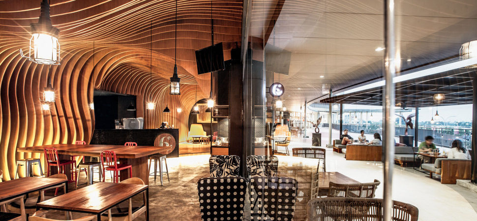 Wavy Timber Slats Delivering a Cave-Like Feel: New Six Degrees Cafe in Jakarta