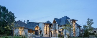 Mountain Rustic Look Tastefully Displayed by Rock Copper Glass Residence in Canada