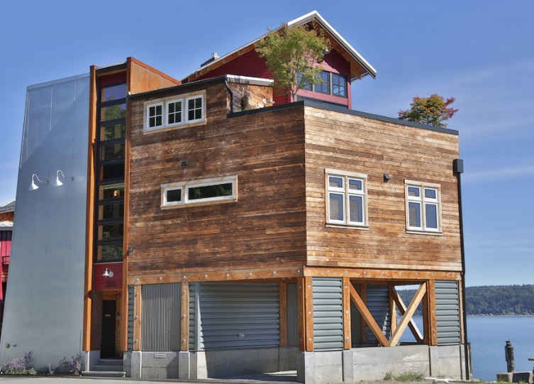 eclectic wood home exterior