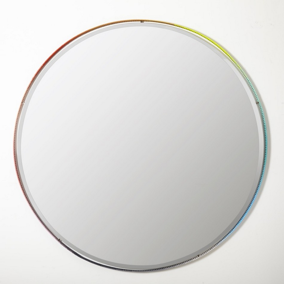 Colorful hand braided mirror frames for artistic modern for Ronde plakspiegel