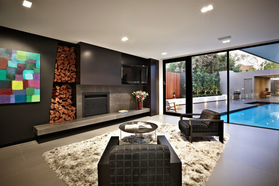 modern black iving room
