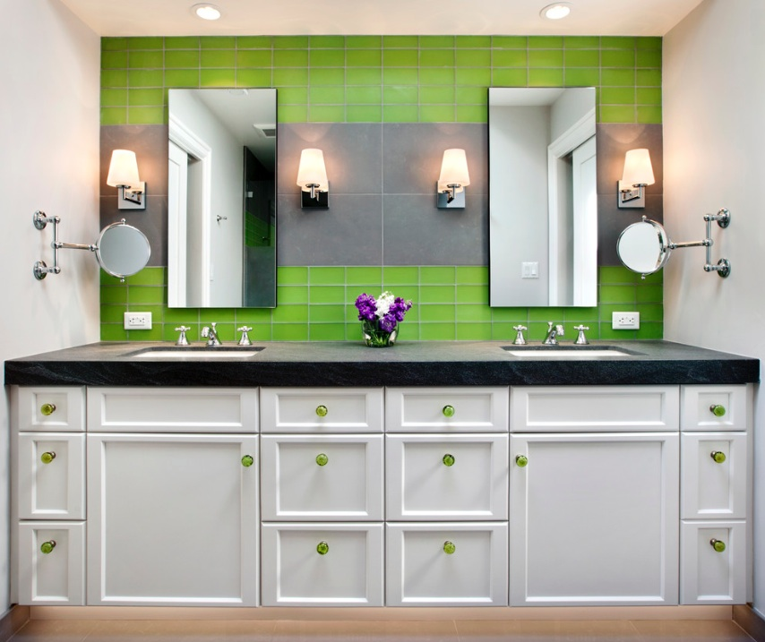 modwern bathroom green tile hardware