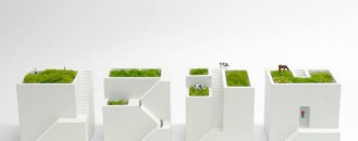Ienami Bonkei Planters Resembling Lovely Miniature Homes With Green Rooftops
