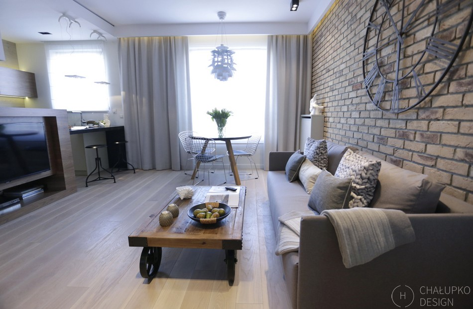Post Industrial Apartment In Warsaw Exhibiting A Clean And
