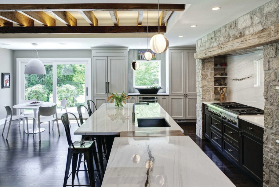 stone kitchen white marble