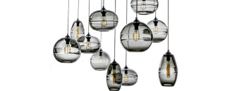 Blown-Glass Clear Band Pendant Collection of Organic Origins