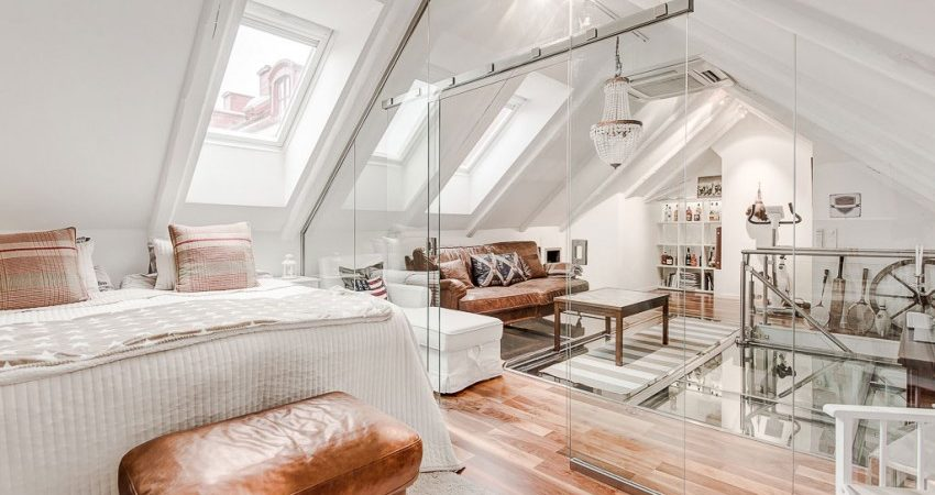 Spectacular Attic Duplex With Glass Flooring in Stockholm, Sweden