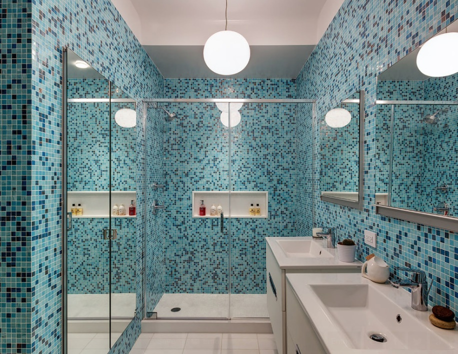 blue mosaic bathroom tile shower