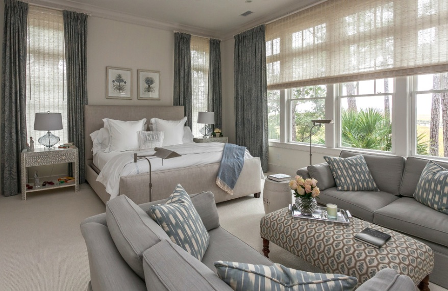 grey and blue neutral bedroom