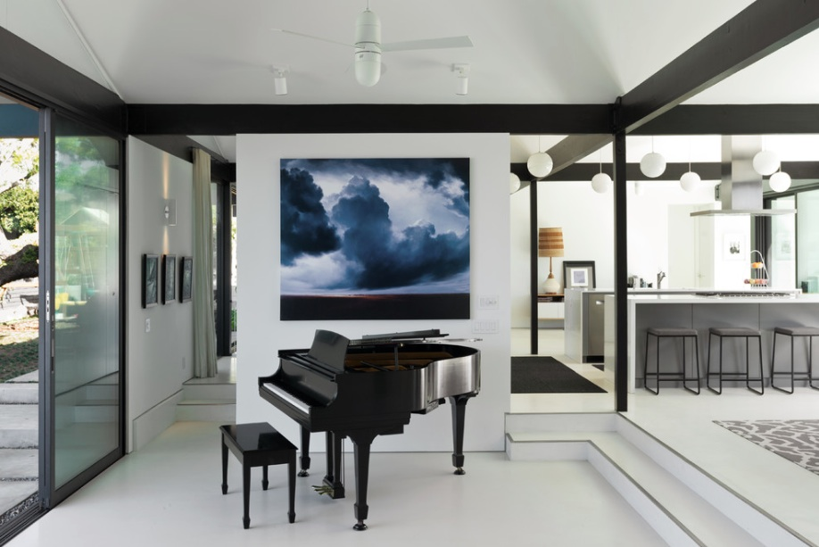 modern black and white home piano room
