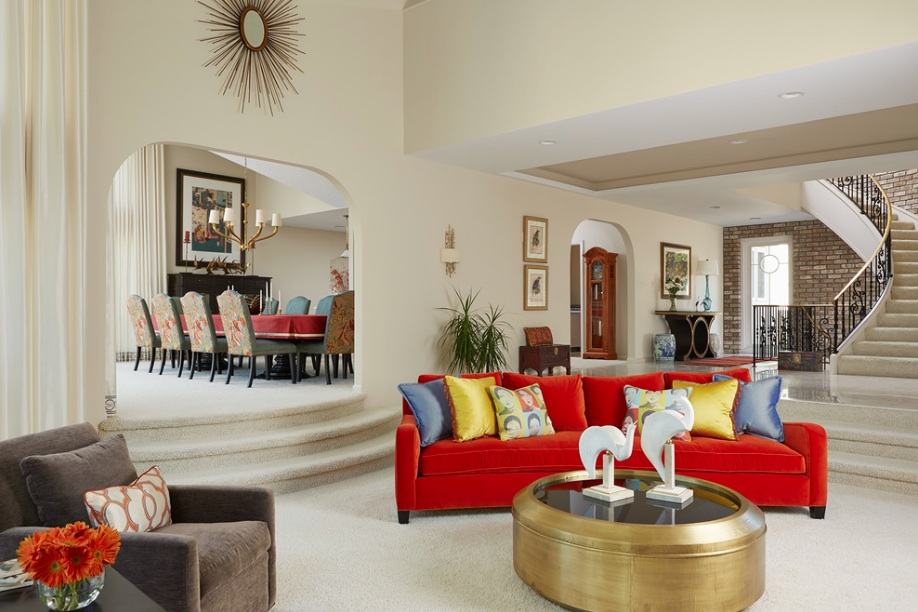 red couch gold coffee table