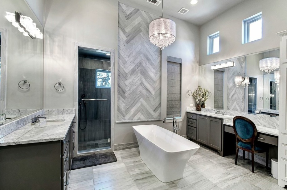 bathroom tile marble vanity bathtub