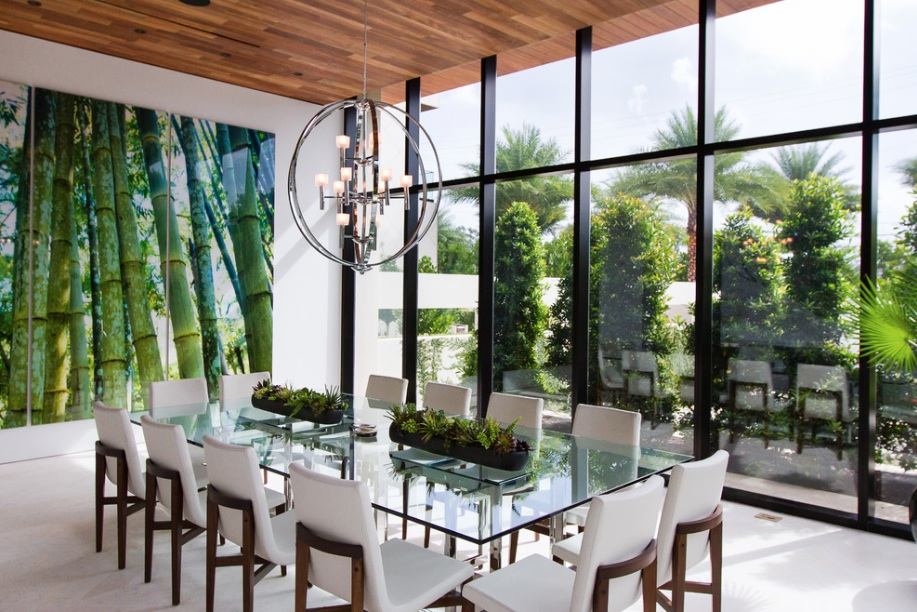 Modern Gl Dining Table Wall Mural Windows
