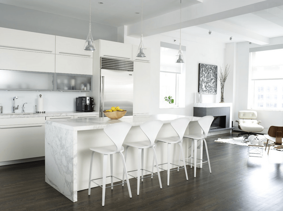 All White Modern Kitchen Freshome.com