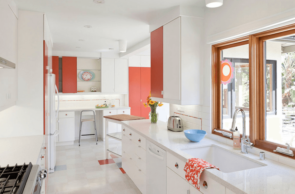 White Kitchen And Salmon Walls