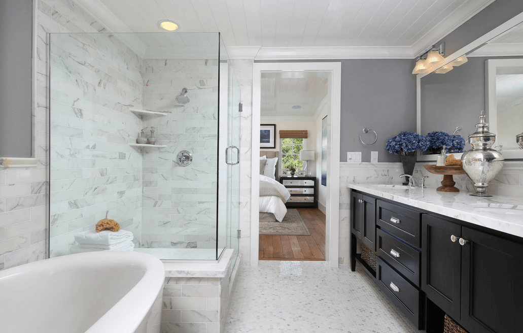 Collect This Idea Separate Tub And Shower With Marbled Walls