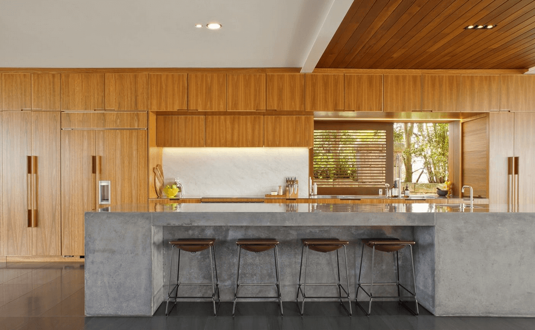 solid concrete island and wood counters