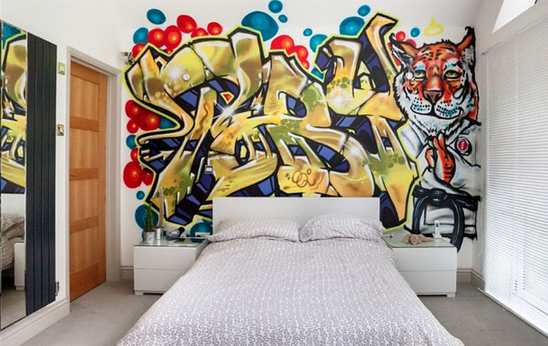 Cool Wall Ideas For Guys Part - 14: ... teen bedroom grafitti wall
