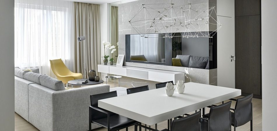 Modern Apartment Situated on the 18th Floor of Moscow Skyscraper