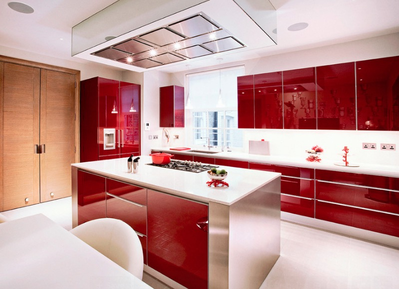 High Gloss Kitchen Cabinets Collect This Idea Red