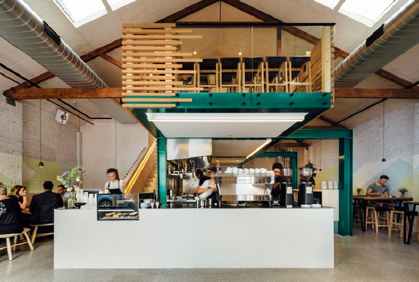 Timber Slatted Mezzanine as Highlight for Code Black Cafe in ...