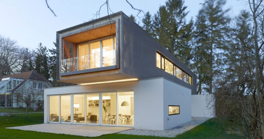 Complex Living Program Concentrated on Narrow Lot: Single Family House in Switzerland