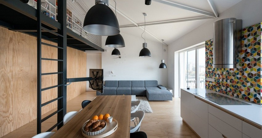 Industrial Loft Apartment in Bratislava Exhibiting Warm Vibes Throughout