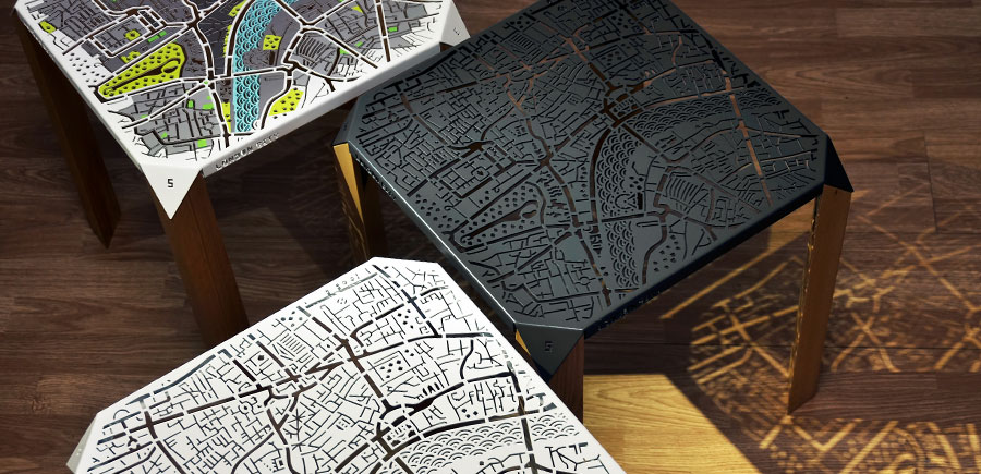 Reviving Memories of Favorite Places: London Map Side Table by Flying Cavalries