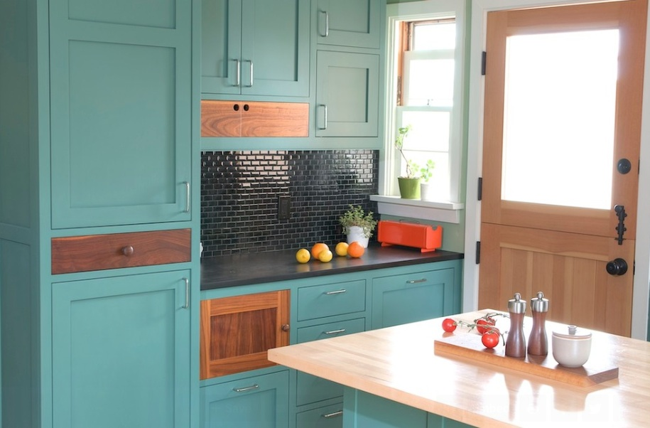 teal green painted kitchen cabinets & How to Paint Your Kitchen Cabinets - Freshome
