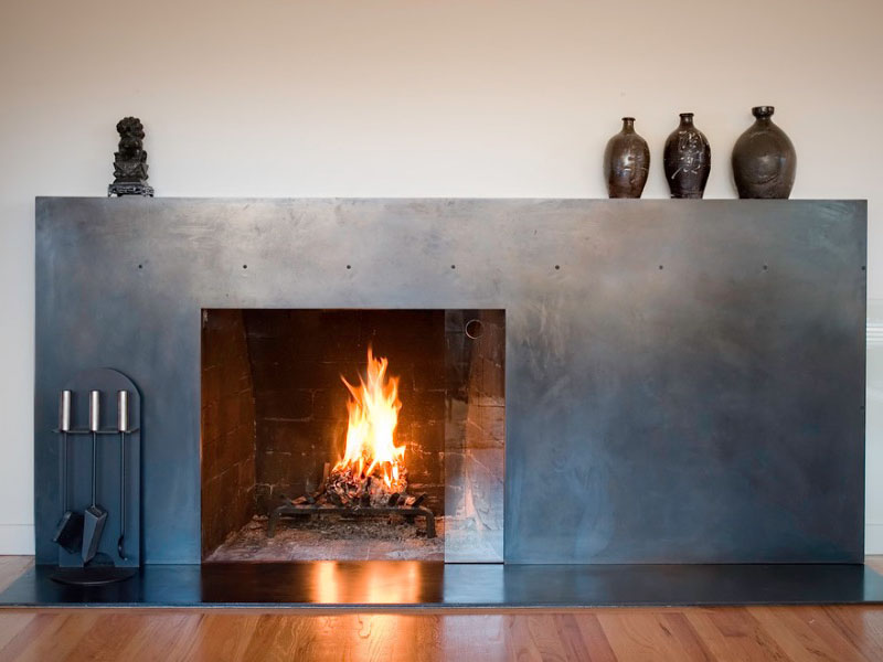 4 A Handcrafted Al Metal Fireplace Facade