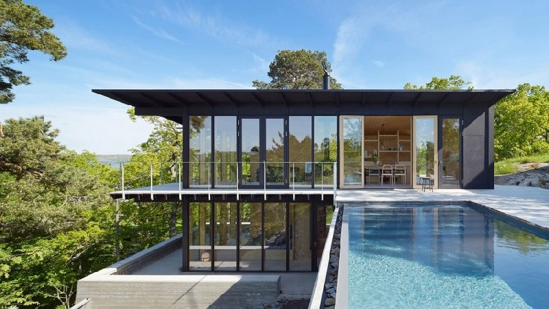 Swedish Home Features Infinity Pool and Chinese-Style Tower