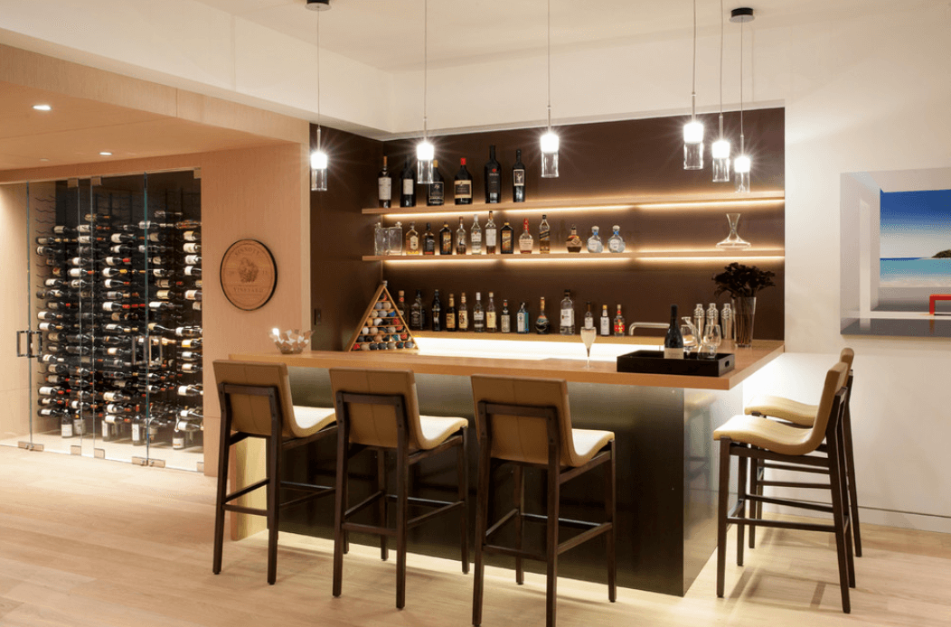 Bar Design Ideas For Home Copper and Steel Island Seating