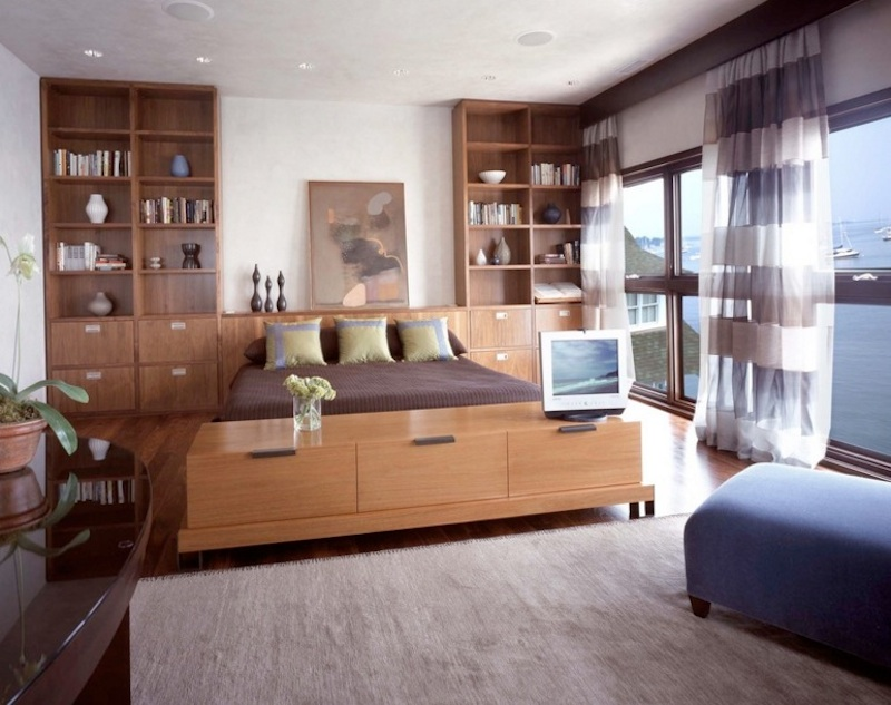 Large Bedroom Interior Design Use Built-in Storage Units To Create A Polished Look.