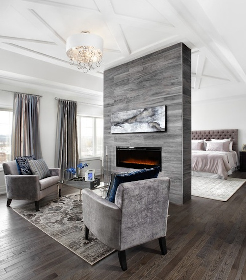 Large Bedroom Interior Design Fireplace Seating