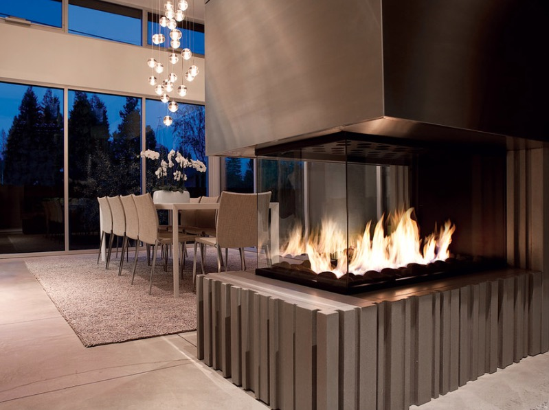 Image result for a romantic dining room with fireplace