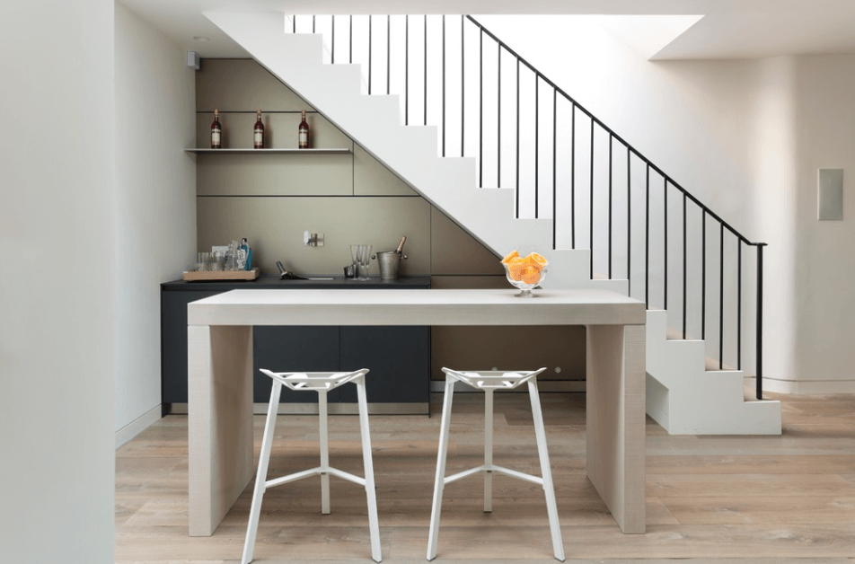 Collect This Idea Grey Stairs Home Bar