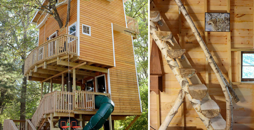 This Man Built An Amazing 3-Story Treehouse For His Grandchildren