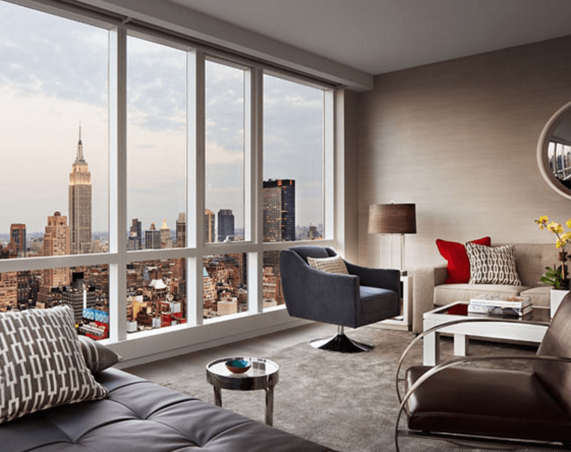 manhattan apartments rented for tourist experience best interior design nyc apartment Living room at One MiMa Tower