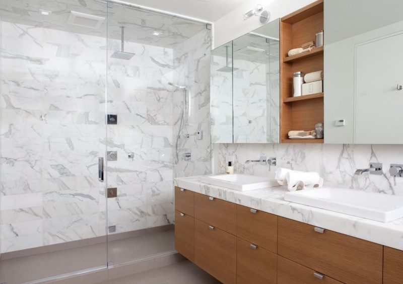 white marble shower