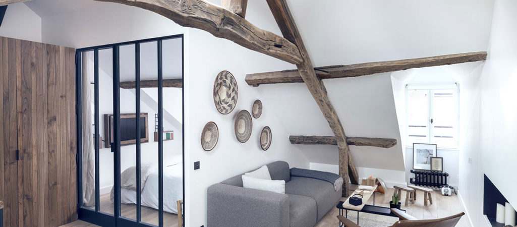 Paris Apartment Combines Rustic Charm, Modern Style