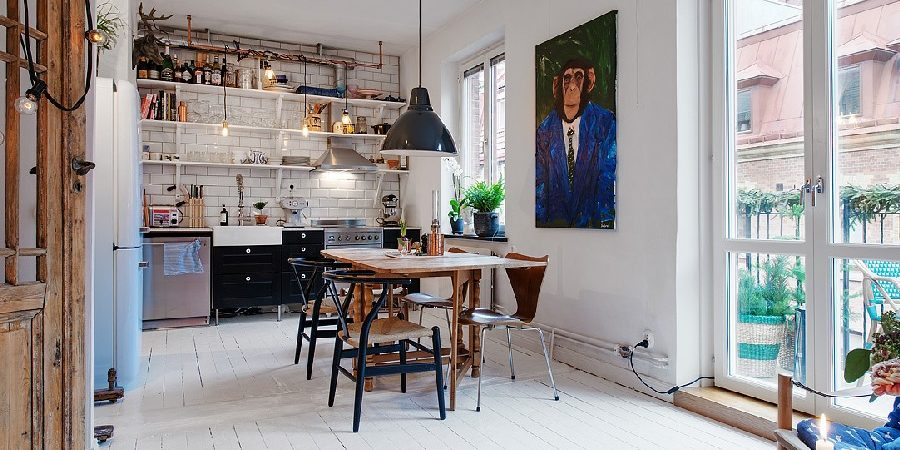 Small Apartment in Sweden Has a Charming Bistro Feel